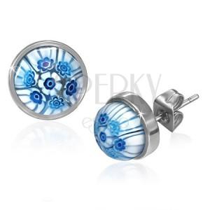 Ocelové puzetky s modro-bílými skleněnými květy