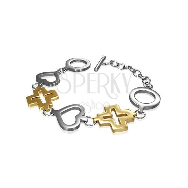 Ocelový náramek kruh, srdce a zlatý kříž
