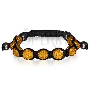 Náramek Shamballa - třpytivé zlaté korálky, hematitové kuličky
