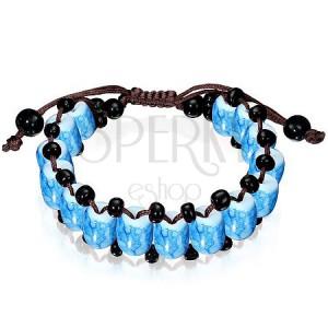 Energetický náramek - Shamballa modré mramorově zbarvené korálky