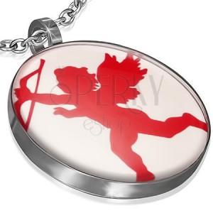 Kulatý ocelový přívěsek - červený Amorek s lukem