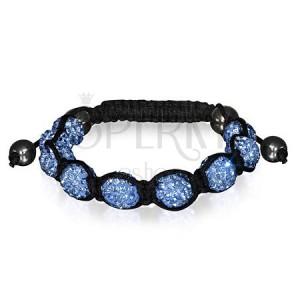 Vibrační náramek SHAMBALLA - světle modré zirkonové a hematitové korálky