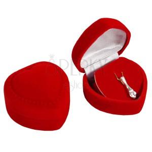 Srdíčková krabička na přívěsek - červený sametový povrch