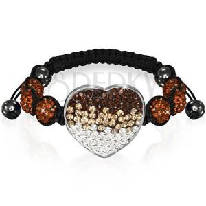 Shamballa náramek se srdcem - čokoládově hnědé zirkonové korálky
