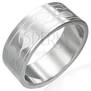 Ocelový prsten se spermiemi a dvěma pásky