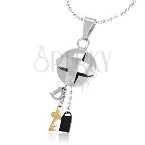 Ocelový trojbarevný přívěsek - medailon s křížem a malé přívěsky