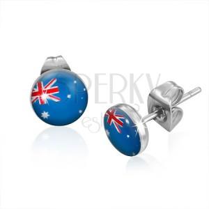 Puzetové náušnice z oceli - vlajka Austrálie