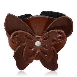 Kožený náramek - hnědý motýl s výřezy