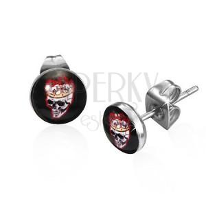 Kulaté ocelové náušnice s lebkou a korunou