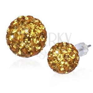 Náušnice disco koule - zlatá zirkonová kulička