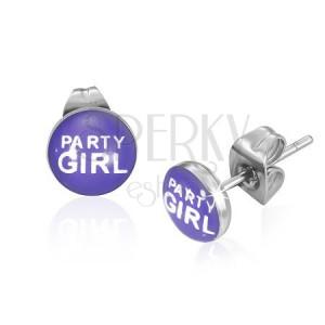 Náušničky z oceli s nápisem Party Girl, fialové