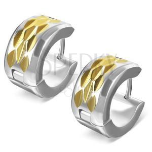 Náušnice z oceli - kosočtvercový výbrus na zlatém pásu
