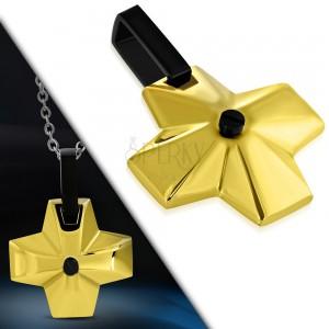 Ocelový přívěsek - široký kříž zlaté barvy s černým očkem uprostřed