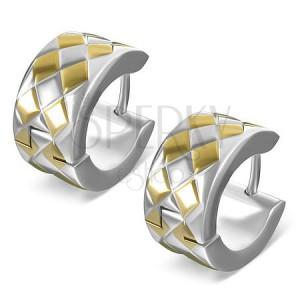 Ocelové kulaté náušničky - překřížené pásy s kosočtverci