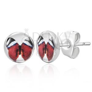 Puzetové náušničky s červeným motýlem