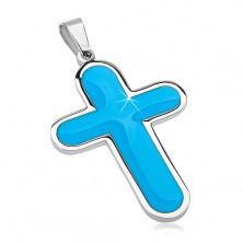 Přívěsek z chirurgické oceli, velký kříž s modrým glazovaným vnitřkem