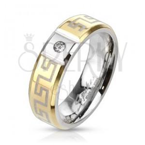 Ocelový prsten s řeckým vzorem - se zirkonem