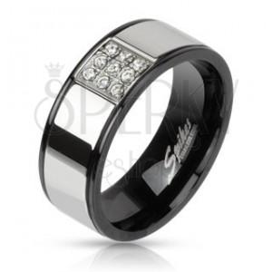 Prsten z oceli - stříbrný s černými okraji, zirkonový čtverec