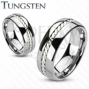 Wolframový prsten se stříbrným pleteným vzorem