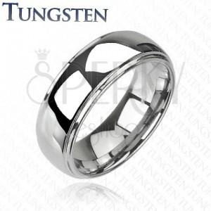 Wolframový prsten - vyvýšený střed, zrcadlový lesk, 6 mm