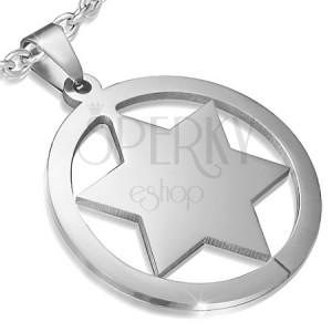 Přívěsek z oceli s plnou hvězdou v kruhu