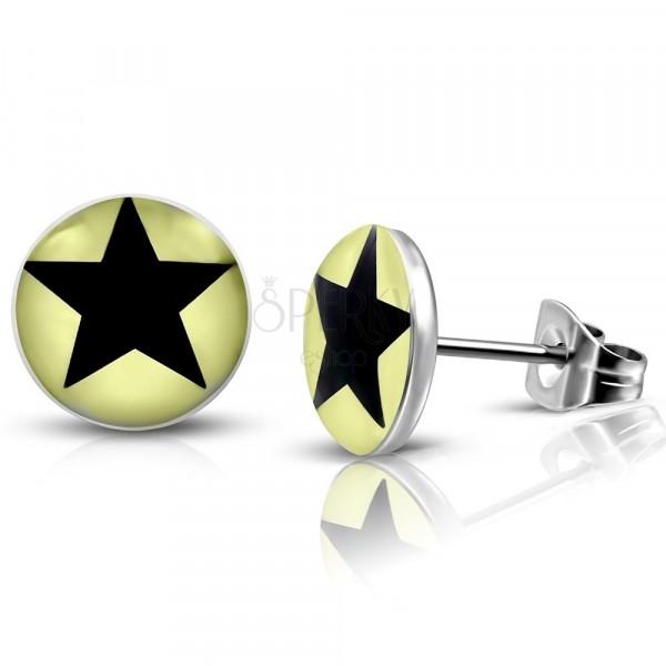 Ocelové náušnice - světle žluté kroužky s černou hvězdičkou, puzetky