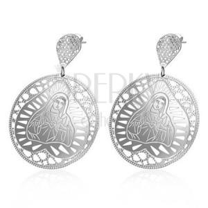 Kruhové ocelové náušnice s Pannou Marií v srdci