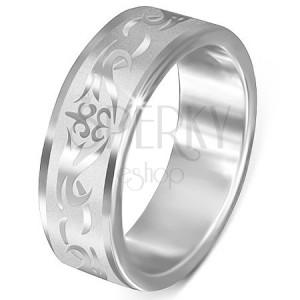 Ocelový prsten - matný s lesklým kmenovým vzorem