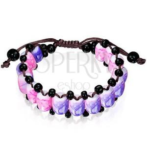 Shamballa náramek - korálky s fialovo-růžovým mramorovým vzorem