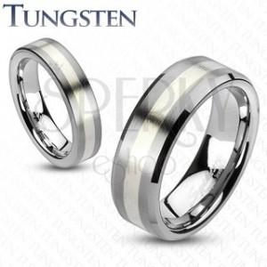 Wolframový prsten - matný šedý se stříbrným pásem