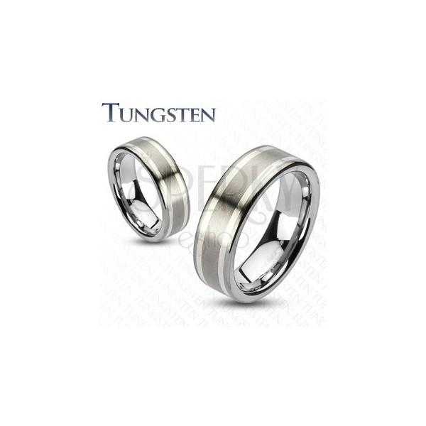Prsten z karbidu wolframu se dvěma stříbrnými pruhy, 8 mm