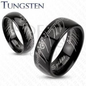 Prsten z wolframu - hladký černý, Pán prstenů