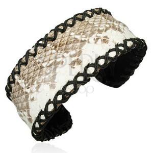 Ohýbatelný náramek z kůže s hadím vzorem, obšívaný