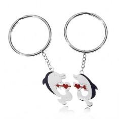 Přívěsky na klíče pro dva - delfíni, srdíčka, kamínky AB31.05