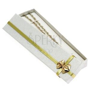 Dárková krabička - podlouhlá, zlatá stuha s mašlí