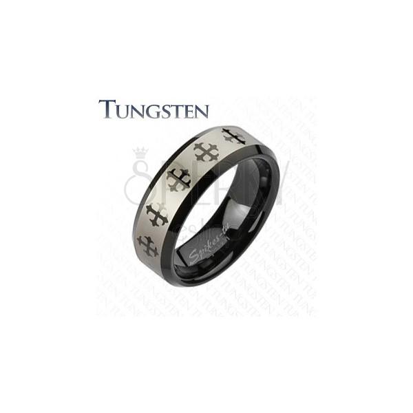 Wolframový prsten s křížem a stříbrným pásem