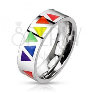 Ocelový prsten s barevnými trojúhelníky na stříbrném podkladu