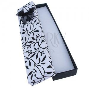 Podlouhlá krabička na náramek - černé lístky s mašlí