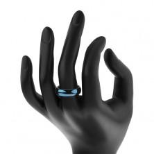 Wolframový prsten s oblými hranami, tmavomodrý, 6 mm