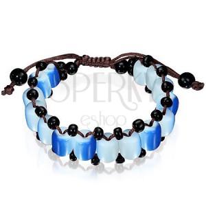 Shamballa náramek s modro-bílými a černými korálky