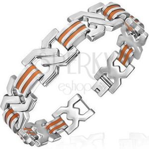 Ocelový náramek z článků - double X, oranžový