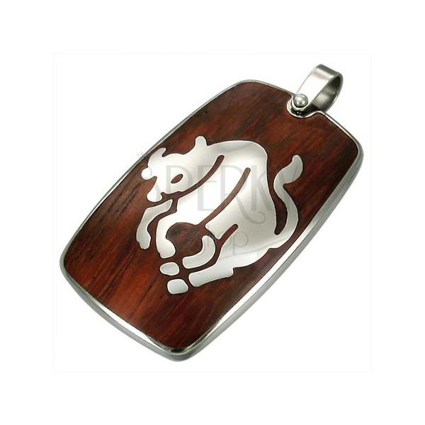Ocelový přívěsek s dřevěným pozadím - zvěrokruh znamení Býk
