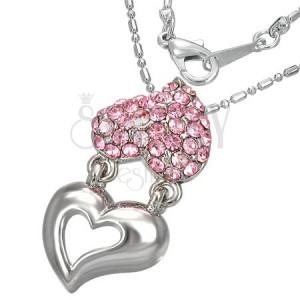 Náhrdelník - držící se kovové a zirkonové srdce, růžové zirkony
