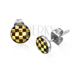 Puzetové náušnice z oceli - šachovnice v černé a žluté barvě