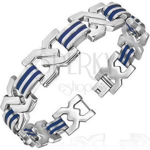 Náramek z oceli s modrými gumovými pásky