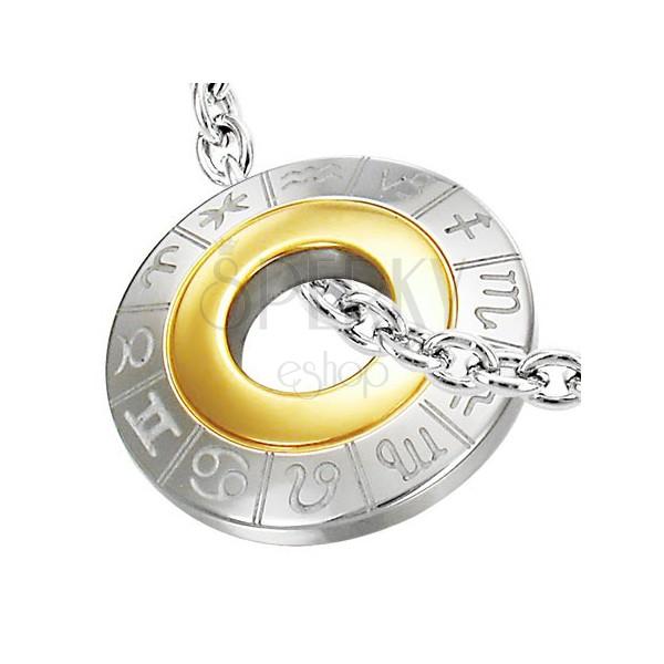 Přívěsek z chirurgické oceli se zvěrokruhem, stříbrná a zlatá barva