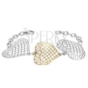 Ocelový náramek - veliké mřížkovaná srdce s ornamenty