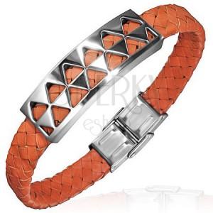 PVC náramek s ocelovou ozdobou s trojúhelníky, oranžový