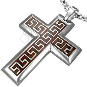 Přívěsek z chirurgické oceli kříž s hnědým podkladem a aztéckým vzorem