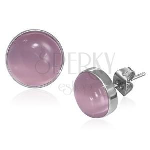 Puzetové náušničky z oceli - vypuklý růžový kámen kočičí oko